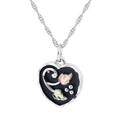 Sterling Silver Black Hills Gold Antiqued Heart Pendant - Jewelry