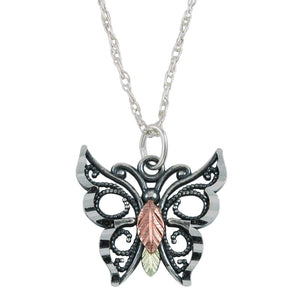 Sterling Silver Black Hills Gold Oxidized Butterfly Pendant II - Jewelry