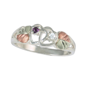 Sterling Silver Black Hills Gold Amethyst & Diamond Ring - Jewelry
