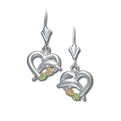 Sterling Silver Black Hills Gold Swimming Dolphin Earrings