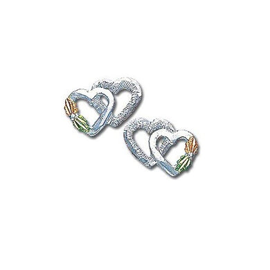 Sterling Silver Black Hills Gold Heart Pair Earrings