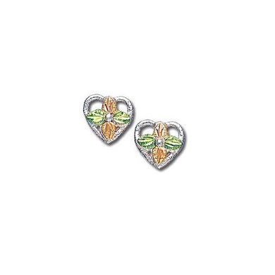 Sterling Silver Black Hills Gold Foliage Heart Earrings