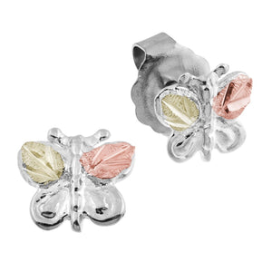 Sterling Silver Black Hills Gold Butterfly Earrings
