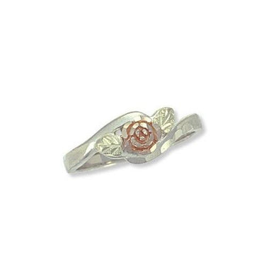 Sterling Silver Black Hills Gold Fancy Rose Ring - Jewelry