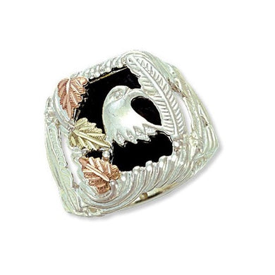 Men's Sterling Silver Black Hills Gold Eagles Head Ring