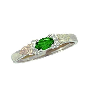 Sterling Silver Black Hills Gold Bright Emerald Ring - Jewelry
