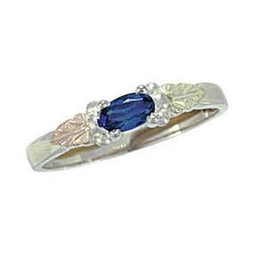 Sterling Silver Black Hills Gold Bright Sapphire Ring - Jewelry