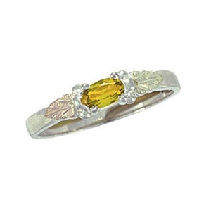 Sterling Silver Black Hills Gold Bright Citrine Ring - Jewelry