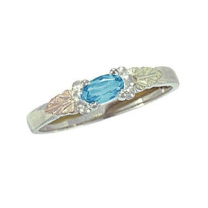 Sterling Silver Black Hills Gold Bright Blue Zircon Ring - Jewelry