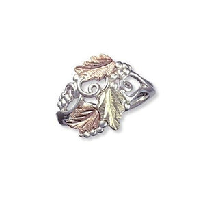 Sterling Silver Black Hills Gold Intricate Foliage Ring - Jewelry