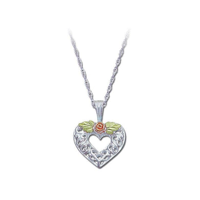 Sterling Silver Black Hills Gold Heart of Rose Pendant - Jewelry