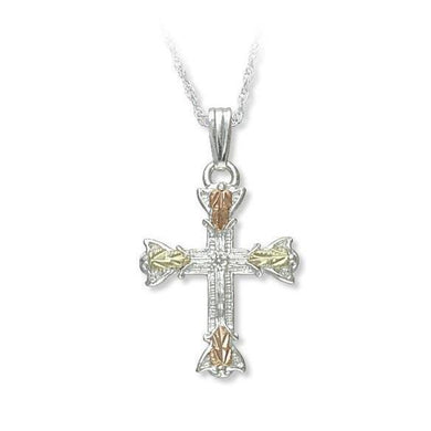 Sterling Silver Black Hills Gold Foliage Cross Pendant II - Jewelry