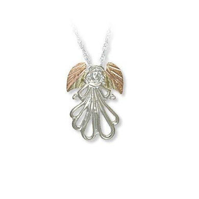 Sterling Silver Black Hills Gold Stunning Angel Pendant - Jewelry