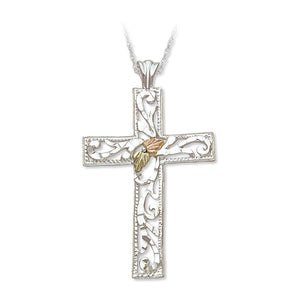 Sterling Silver Black Hills Gold Large Cross Pendant - Jewelry