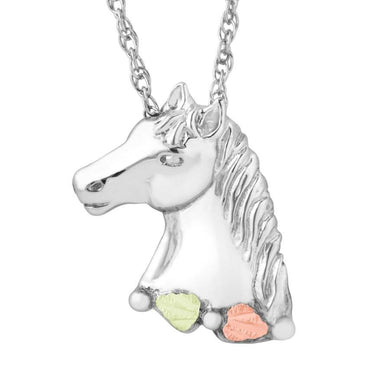 Sterling Silver Black Hills Gold Stately Horse Pendant - Jewelry