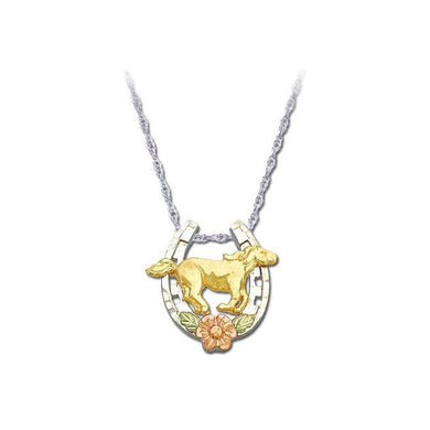 Sterling Silver Black Hills Gold Mustang Rose Pendant - Jewelry
