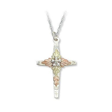 Sterling Silver Black Hills Gold Foliage Cross Pendant IV - Jewelry