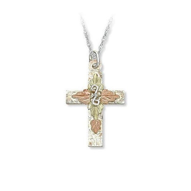 Sterling Silver Black Hills Gold Foliage Cross Pendant - Jewelry
