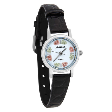 Sterling Silver Black Hills Gold Leather Band Ladies Watch
