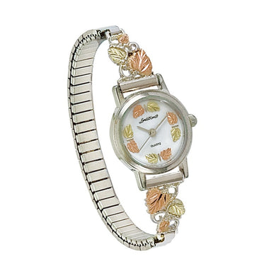Sterling Silver Black Hills Gold Elegant Foliage Ladies Watch III