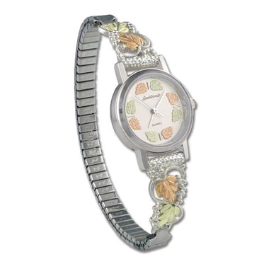 Sterling Silver Black Hills Gold Elegant Foliage Ladies Watch
