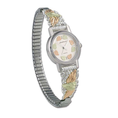 Sterling Silver Black Hills Gold Elegant Foliage Ladies Watch II