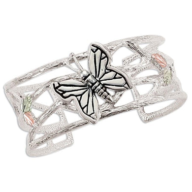 Sterling Silver Black Hills Gold Butterfly Cuff Bracelet - Jewelry
