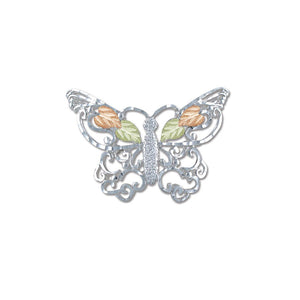 Sterling Silver Black Hills Gold Butterfly Brooch