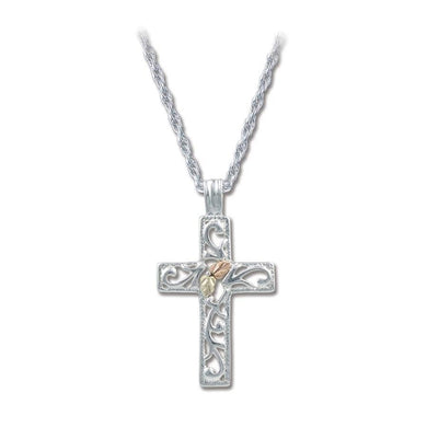 Sterling Silver Black Hills Gold Intricate Cross Pendant - Jewelry