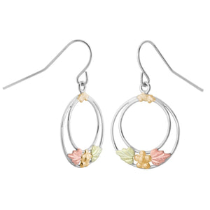 Sterling Silver Black Hills Gold Foliage Hoop Earrings
