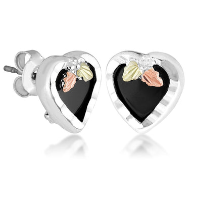 Sterling Silver Black Hills Gold Heart of Onyx Earrings