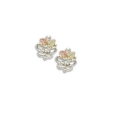 Sterling Silver Black Hills Gold Foliage Diamond Earrings