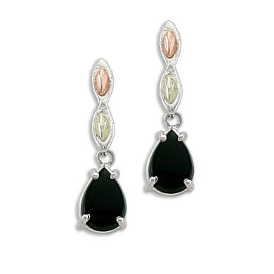 Sterling Silver Black Hills Gold Drops of Onyx Earrings