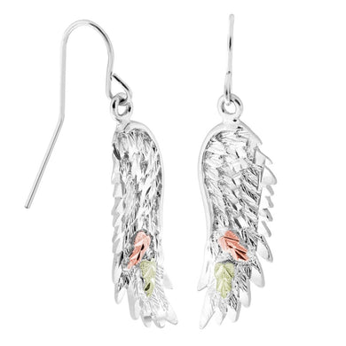 Sterling Silver Black Hills Gold Angel Wing Earrings
