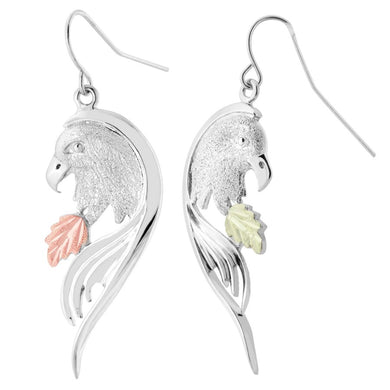 Sterling Silver Black Hills Gold Fierce Eagle Earrings