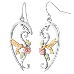 Sterling Silver Black Hills Gold Hummingbird Half Heart Earrings