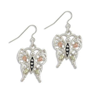 Sterling Silver Black Hills Gold Butterfly Earrings IV