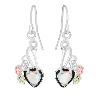 Sterling Silver Black Hills Gold Dangling Opal Heart Earrings