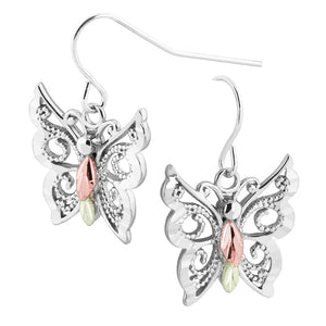 Sterling Silver Black Hills Gold Intricate Butterfly Earrings
