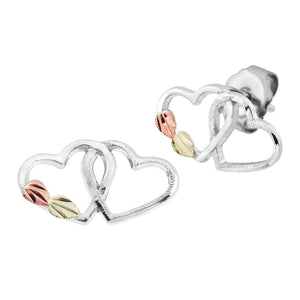 Sterling Silver Black Hills Gold Linked Heart Earrings