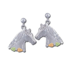 Sterling Silver Black Hills Gold Elegant Horses Earrings
