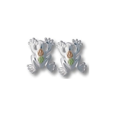 Sterling Silver Black Hills Gold Playful Frog Earrings