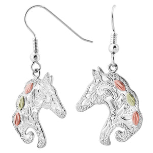 Sterling Silver Black Hills Gold Intricate Horse Earrings