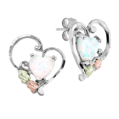 Sterling Silver Black Hills Gold Opal Heart Earrings