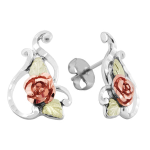 Sterling Silver Black Hills Gold Fine Rose Earrings