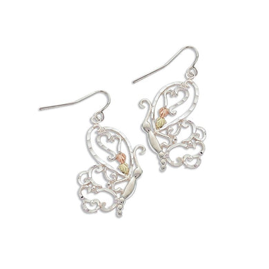 Sterling Silver Black Hills Gold Intricate Butterfly Earrings II