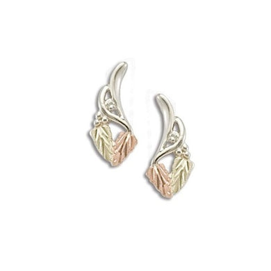 Sterling Silver Black Hills Gold Two Leaf Diamond Earrings