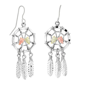 Sterling Silver Black Hills Gold Dreamcatcher Earrings II