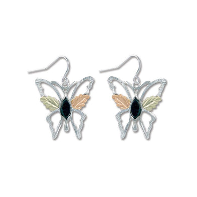Sterling Silver Black Hills Gold Butterfly Onyx Earrings