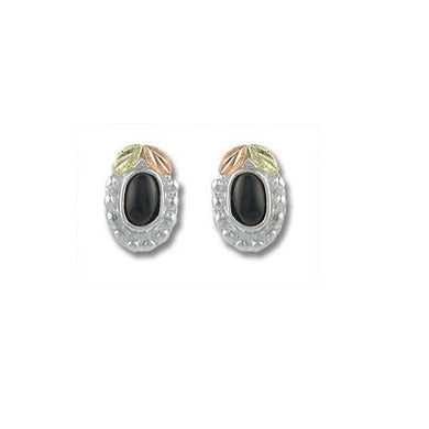 Sterling Silver Black Hills Gold Oval Onyx Earrings